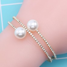 Fashion Rhinestone Pearl Multi-layer Bracelet Gold And Silver Exaggerated Spiral Bracelet For   Women Zinc Alloy Jewelry Gift chic exaggerated alloy cuff bracelet for women