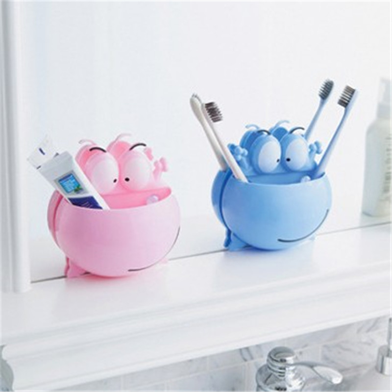 Cartoon Kid Toothbrush Toothpaste Holder Wall Mounted Suction Cup Bathroom Decor