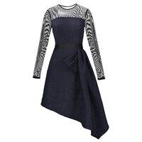Women Asymmetrical A Line Dress Mesh Patchwork Sexy O Neck See Through Dress Ladies Dark Blue