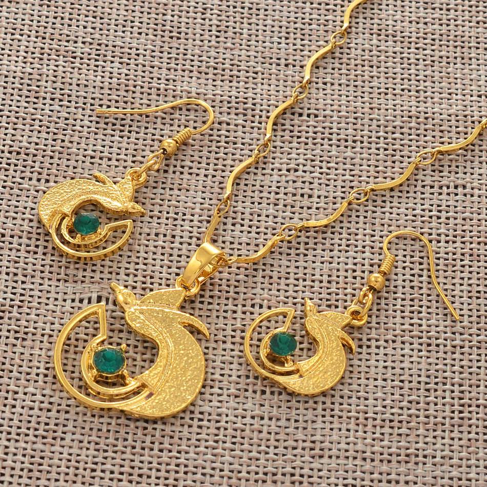 Anniyo Warna Emas PNG Kalung & Anting-Anting dengan Hijau dan Biru Batu untuk Wanita papua Nugini Burung Yang Indah Perhiasan #109406