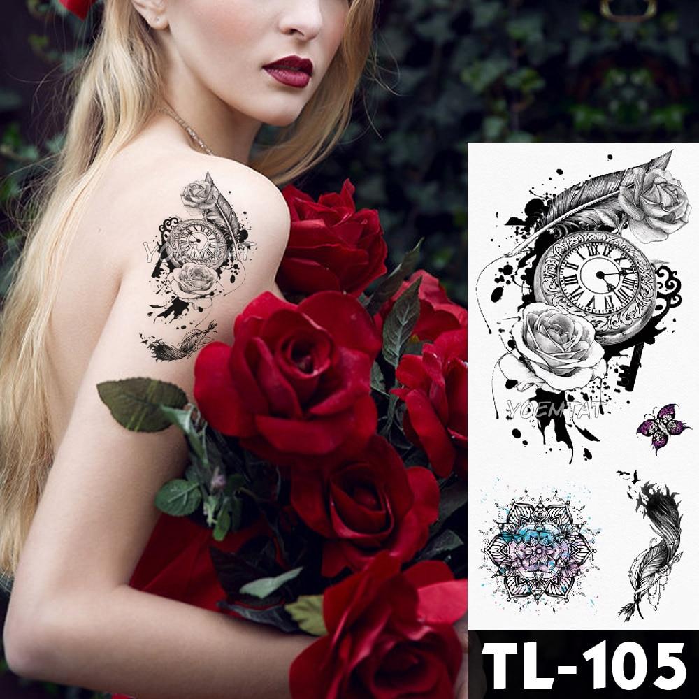 Water Transfer Deep pink henna lace rose flower Temporary Tattoo Sticker butterfly Pattern body art Waterproof Fake Flash Tattoo 3