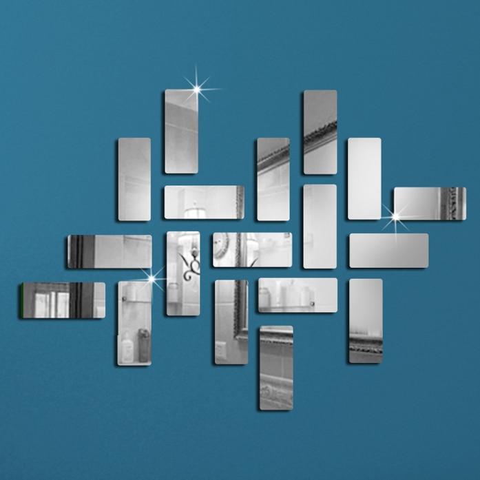 Fashion 3D Mirror Geometric Rectangle Acrylic Wall Sticker Art DIY Mirrors Home Living Room