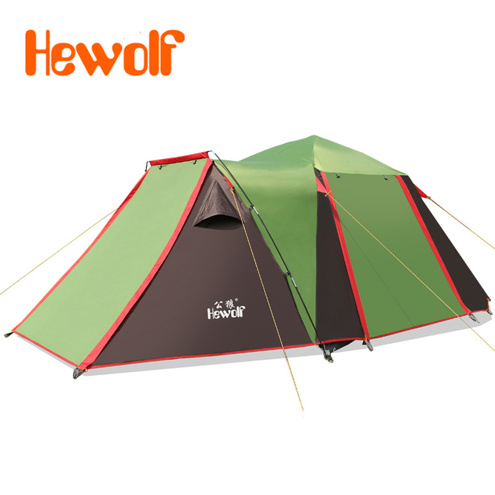 Hewolf Outdoor Family Camping Tent 2 Bedroom 1 Living Room 5-8 Person Family Beach Party Base Rain WindProof Family Camping Tent alpika 3 4 person 2 layer 1 bedroom 1 living room anti rain wind proof frp rod party hiking fishing beach outdoor camping tent