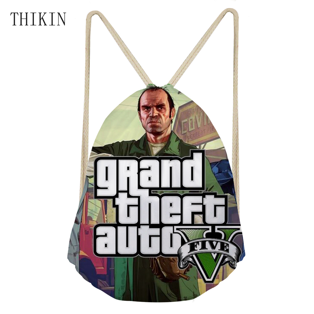THIKIN Custom Swimming Bags For Men Boys 3D GTA 5 Game Cartoon Printed Backpack School Draw-string Water Proof Bag Women