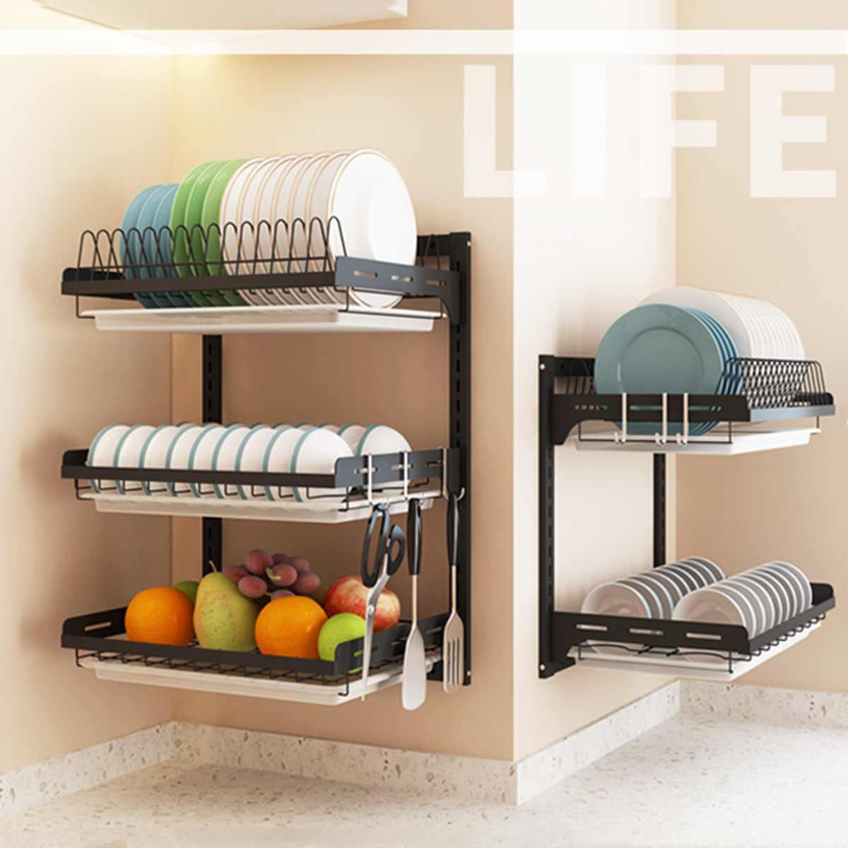 Étagère de cuisine en acier inoxydable bricolage étagère de cuisine murale, bricolage support de cuisine organisateur plat rack baguettes Cage porte-couteau