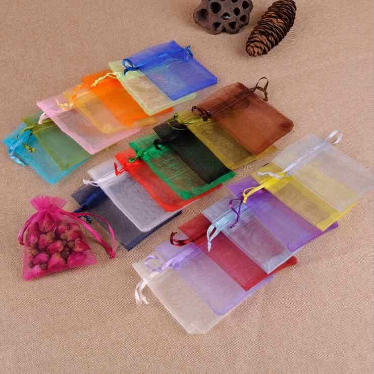 JHNBY 50 pcs 7x9 9x12 10x13x18 15 CENTÍMETROS Organza Saco de Jóias contas decoração de Festa de Casamento Sacos de embalagem Drawable Sacos de Presente Bolsas