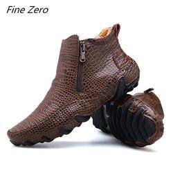 Homens primavera/inverno quente botas de pelúcia artesanal couro rachado tênis ao ar livre antiderrapante caminhadas sapatos de trabalho botas de tornozelo