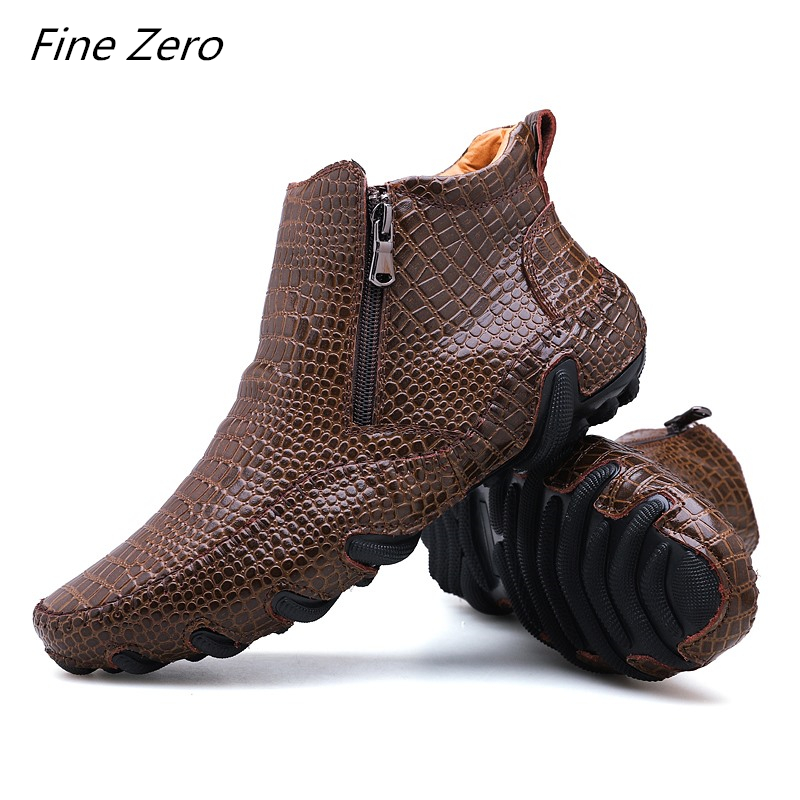 Men Spring/Winter Warm Plush Boots Handmade Cowhide Split Leather Outdoor Sneakers Non slip Men