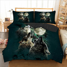 Wongs bedding 3d wolf duvet cover Bedding set quilt Cover Bed Set 3pcs twin queen king size home textile(China)