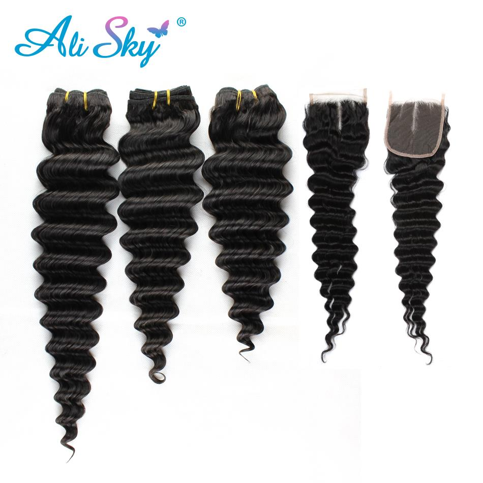 Ali Sky Mongolian Deep Wave Bundles With Lace Closure 3 Bundles Human Hair Weave with Closure Non-Remy Hair Extensions no tangle