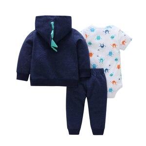 Image 4 - 秋の女服ハート柄コート & ジャケット + 手紙ロンパース + パンツ3枚の衣類のセット6 24m bebesの少年少女の衣装