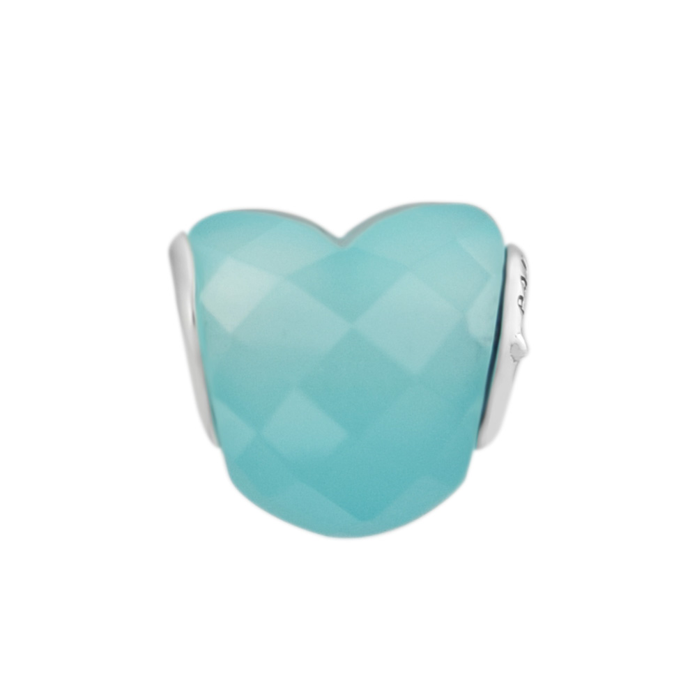 Shape of Love Bead Light Blue FOR jewelry DIY Beads Charms Silver 925 Original Bracelet Sterling-Silver-Jewelry Berloque Perles