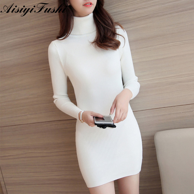 24fec9b13e White Turtleneck Women Knitted Sweater Dress Ribbed Sweater Dress Long Sexy Winter  Sweater Knitted Mini Dresses Robe Pull Hiver