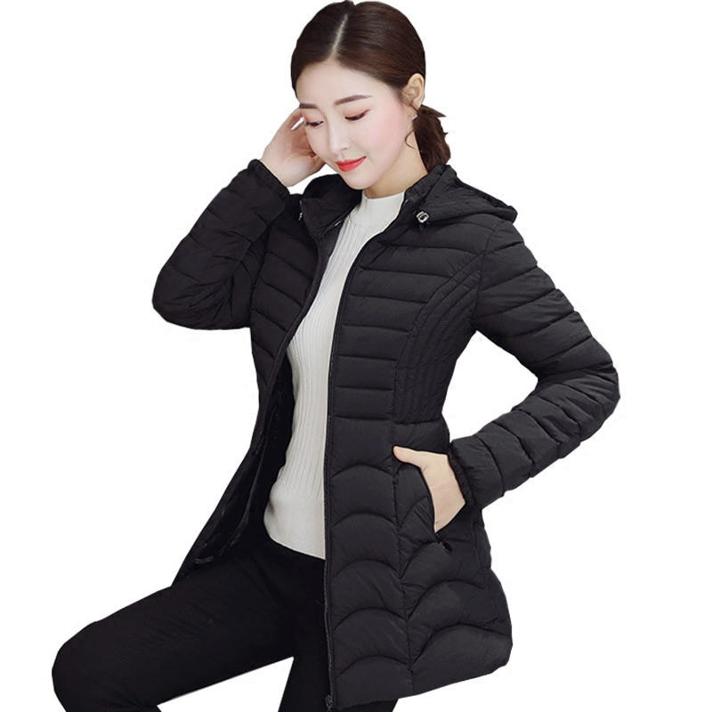 Plus Size 6XL New Hooded Thin Down Cotton Coat Women Chaqueta Mujer Solid Outerwear Long Winter Jacket Women Cotton   Parkas   C4772