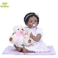 Black baby doll reborn 55cm soft silicone reborn babies girl dolls cotton body with bear plush children bebe gift reborn doll