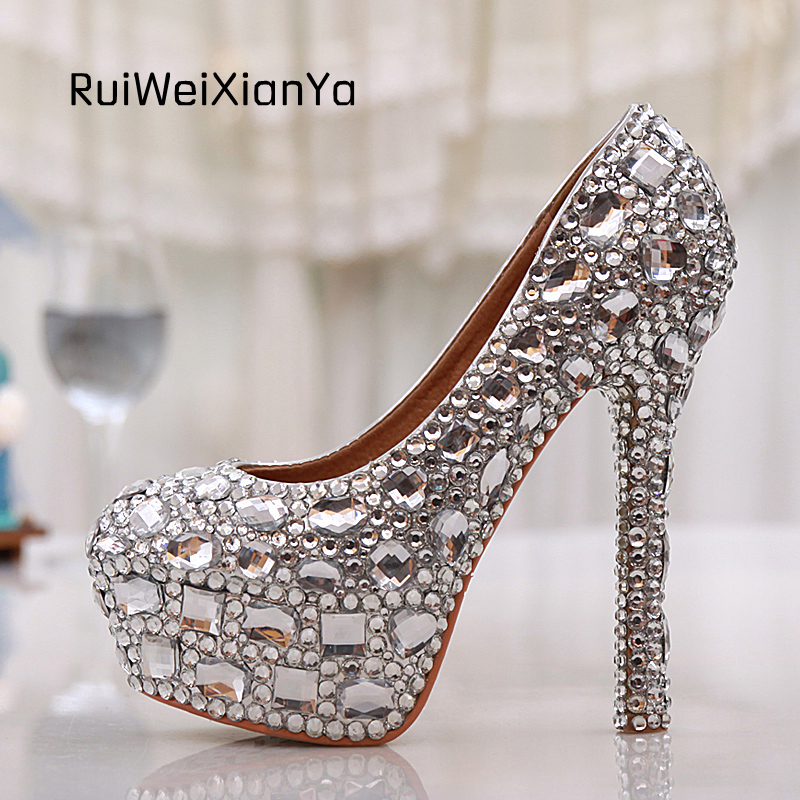 2017 New Fashion Spring Zapatos Mujer Women Pumps High Heels Bridal Silver Rhinestone Platform Wedding Shoes Woman Plus Size Hot 2017 new fashion spring ladies pointed toe shoes woman flats crystal diamond silver wedding shoes for bridal plus size hot sale