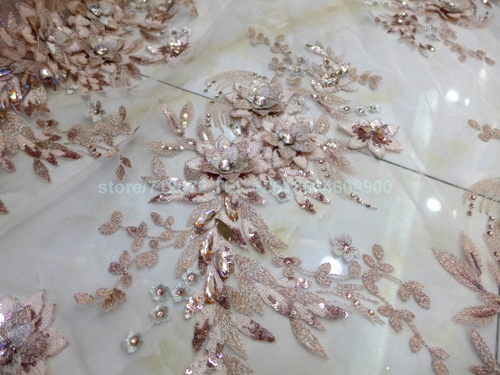 Imported From Abroad 1 Yard Hot Champgane Sequins Acrylic Stones 3d Handmade Flowers On Net Wedding Dress/evening/show/stage Dress Lace Fabric Quell Summer Thirst Apparel Sewing & Fabric