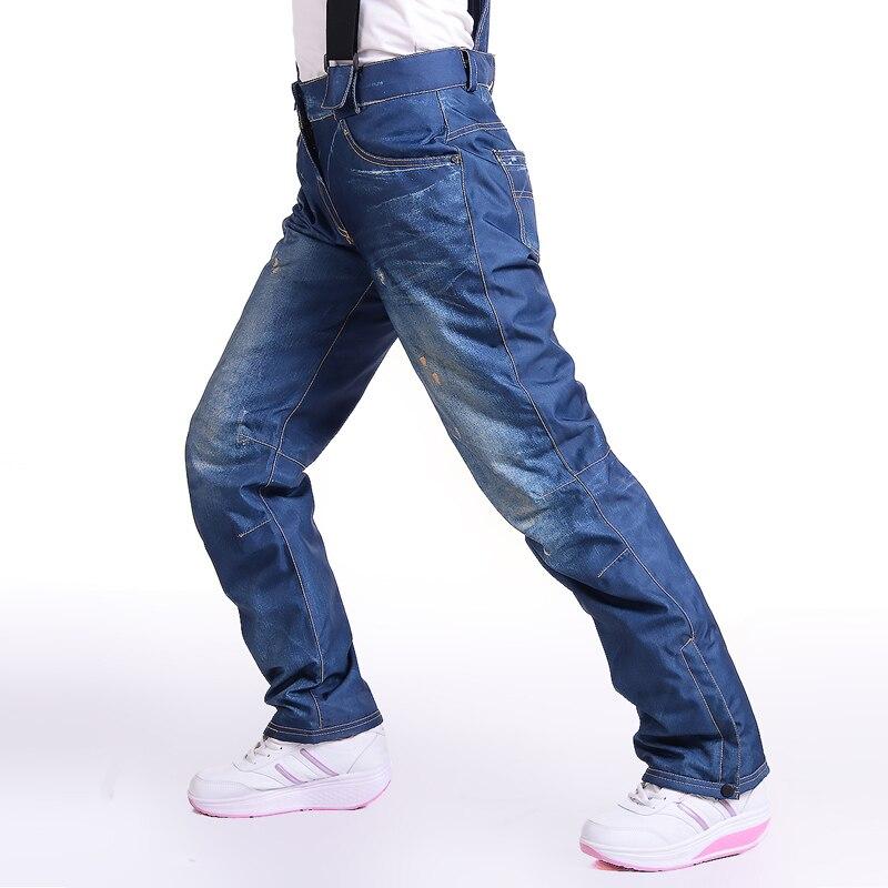 Pantalon de ski femme Denim pantalon de ski femme hiver snowboard pantalon Sportswear respirant imperméable coupe-vent chaud