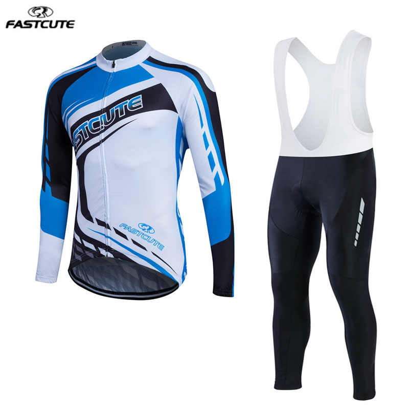 Long Sleeve Cycling Jersey Set fastcute pro team Breathable Quick Dry ropa ciclismo Mountain Bicycle Bike Cycling Clothing  LL14