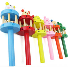 New Wooden Musical Instrument Rattle Toy Baby Kid Infant Educational Gift toys wooden crafts wooden rattle bed bell ringing(China)