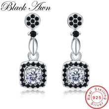 [BLACK AWN] Vintage 2.2g 925 Sterling Silver Örhängen Svart Spinel Flower Engagement Drop Earrings för kvinnor Fina Smycken T206