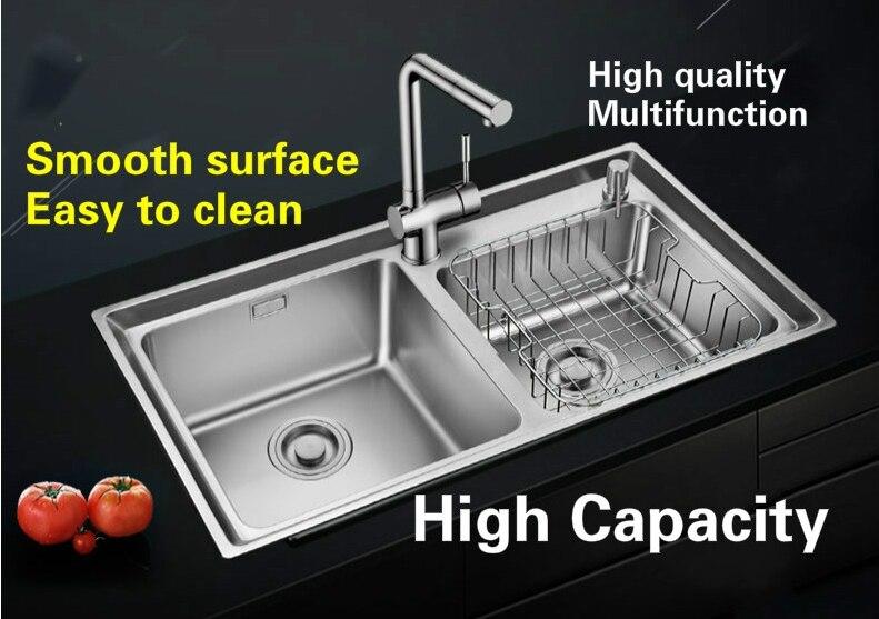 Livraison gratuite Standard individualité grande cuisine double rainure évier en acier inoxydable entier dessin vente chaude 81x45 CM - 2