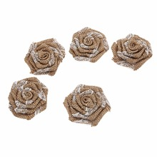 10pcs/lot New Khaki Burlap Rosette Flowers with Lace Wedding Fabric Flax For Baby Headbands Hair Accessories A22