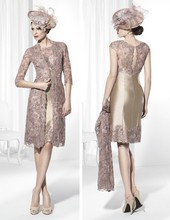 2016 Mother Of The Bride Dresses Sheath High Collar Champagne Lace Short Brides For Weddings With Jacket