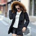100% reais de pele de guaxinim mulheres jaqueta de inverno 2016 de moda de nova patchwork quente grossa longo Fino com capuz para baixo do revestimento do revestimento das mulheres