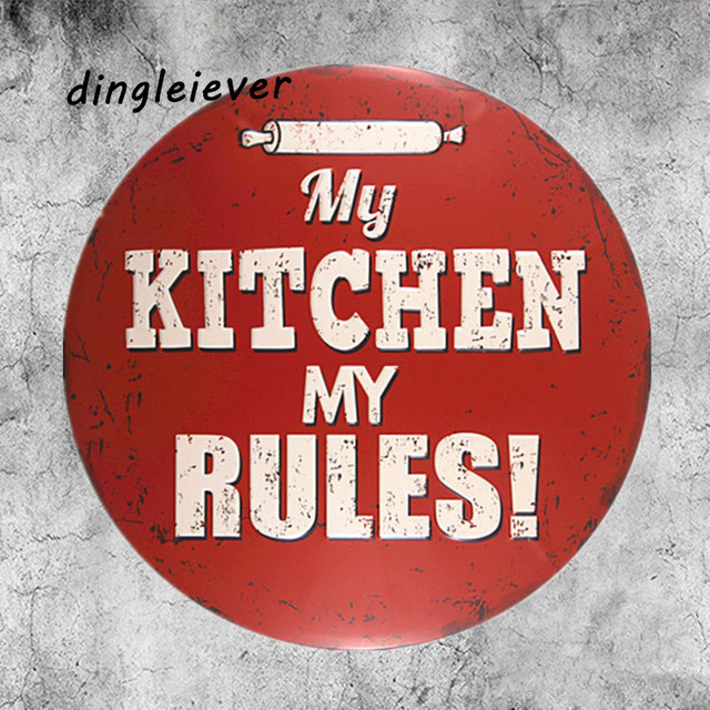 My Kitchen My Rules Vintage Metal Sign Red Wall Paingting Kitchen Signs And  Decor