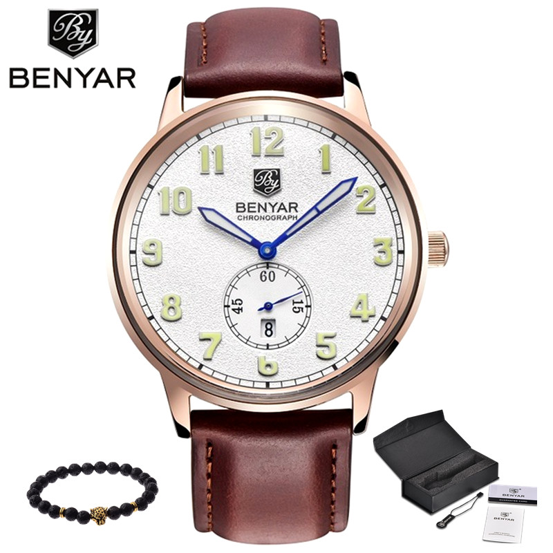 2017 NEW Luxury Brand Benyar Men Sport Watches Men's Quartz Hour Clock Man Army Military Leather Wrist Watch Relogio Masculino splendid brand new boys girls students time clock electronic digital lcd wrist sport watch