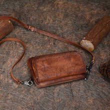 2019 New Women Bag Retro Leather Mini Bag Handmade First Layer Cowhide Mobile Phone Bag Original Single Shoulder Messenger Bag
