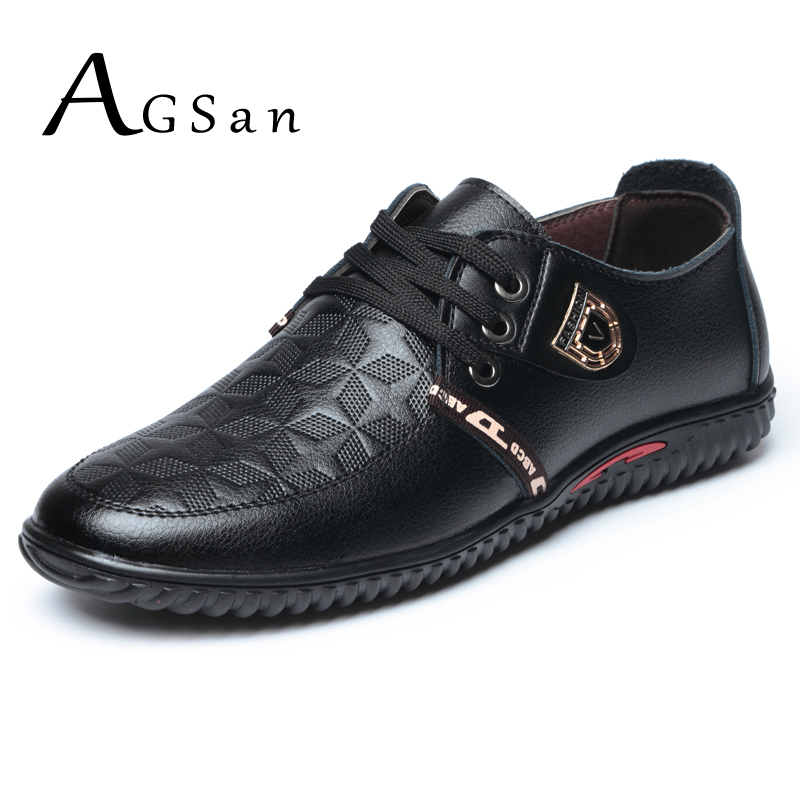 AGSan handmade leather casual shoes for men italian fashion leather shoes black brown autumn moccasins lace up zapatos hombre 2016 men s fashion shoes of england stiletto shoes handmade fashion shoes italian shoemaking manual shoelaces 6528