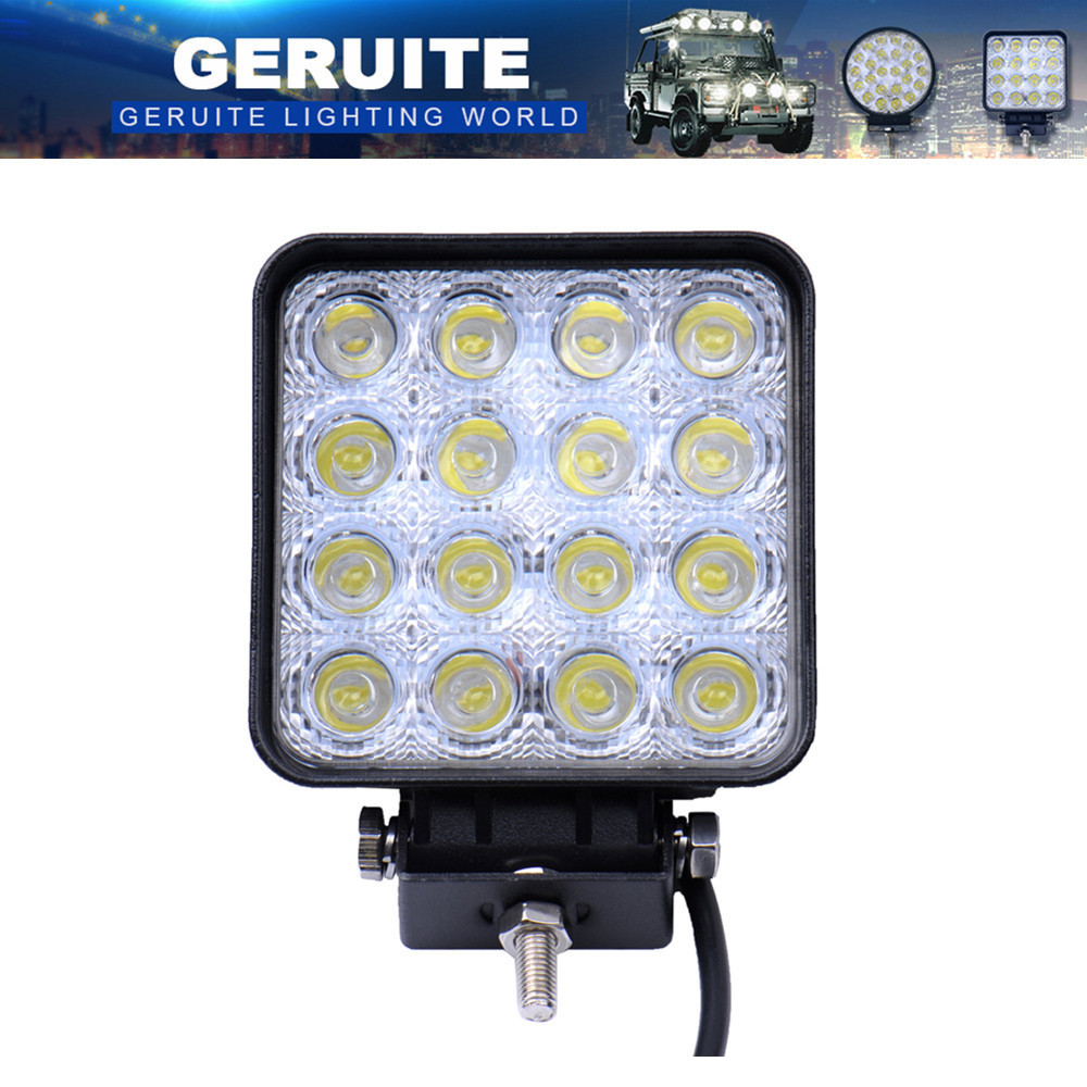 10PCS GERUITE LED Spotlight 48W Square Car Lights For Truck SUV Båt Jakt Fiske IP67 Vanntett LED Arbeidslys
