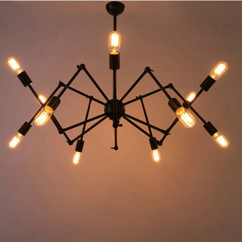 Free shipping 8 ight black suspension spider pendant Light retro Industrial Satellite Pendant Lamp with 4W E27 Edison led bulb l ight lt12