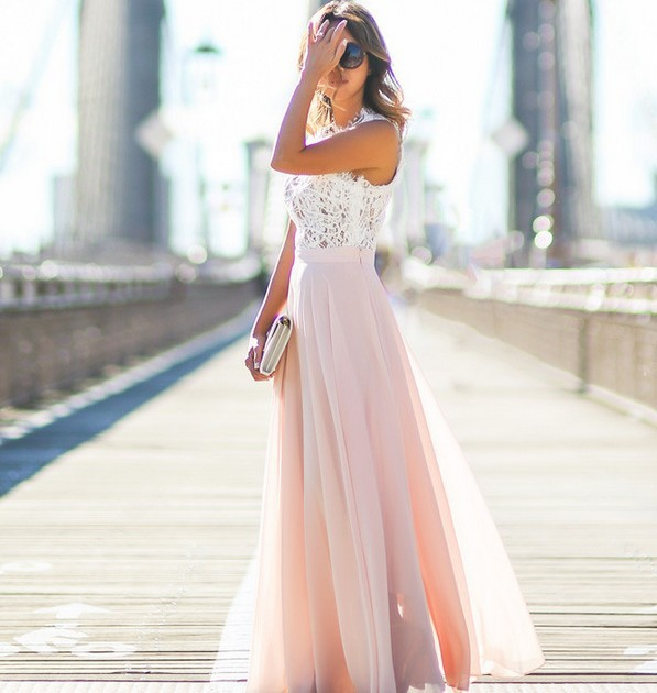 2018 Illusion Lace A-line Prom Dress Cut-out O-neck Evening Dress Contrast Color White And Pink Prom Gowns Vestido De Fiesta