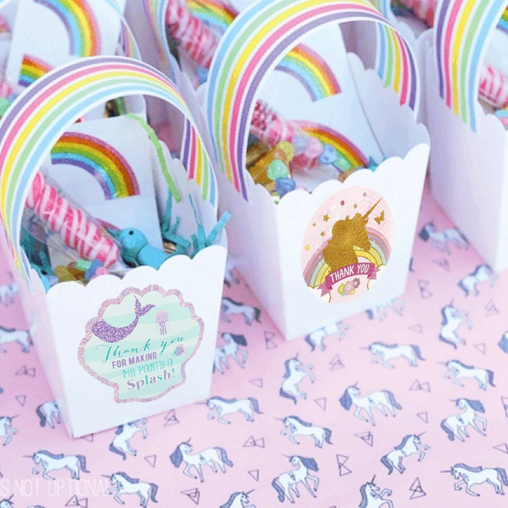 Frigg 24 40pcs New The Unicorn Candy Bag Sticker Birthday Party Decors Thank you Mermaid Gift Box Stickers Packaging For Gifts in Party DIY Decorations from Home Garden
