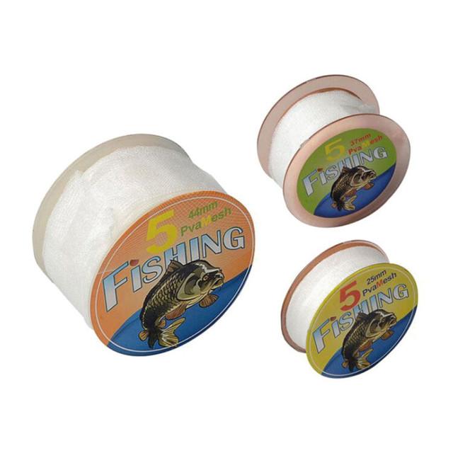 5M PVA 25/37/44mm Portable Mesh Refill Carp Fishing Stocking Boilie Rig Bait Wrap Bags Protect Fish Net