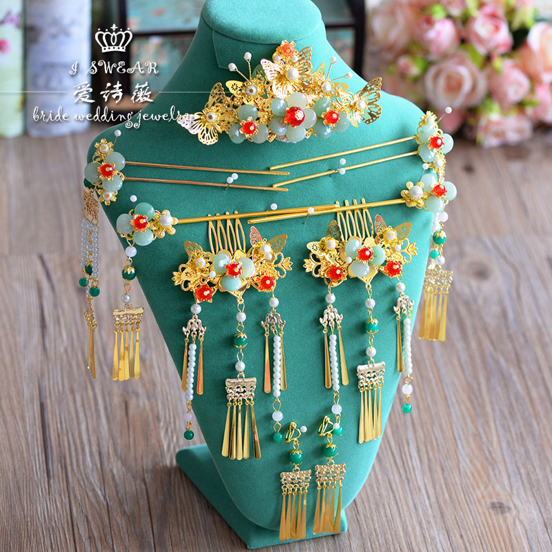 Chinese costume styling green rhinstone sticks hair combs sets bride headdress wedding hair accessories han guang traditional chinese wedding bride hair tiaras for xiuhefu hair accessory set for costume