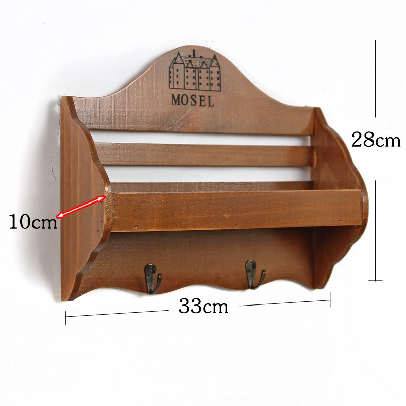 Wandplank wandplank ornament fotos : Retro houten wandplank organizer sleutel haken Ornament ...