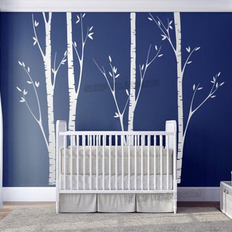 Énorme bouleau arbre mur autocollant vinyle pépinière décor mur Art autocollants faciles à poser pour enfants bébé chambres stickers muraux arbre Branches décor L918