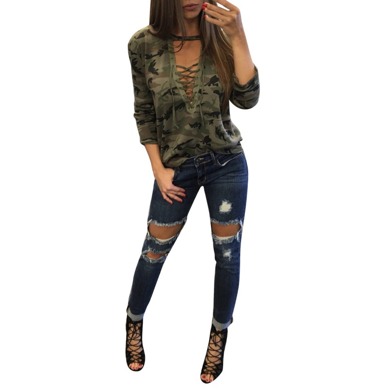 Sexy Womens Tops Lace Up V-neck Long Sleeve Camouflage Casual T-shirt S72 With Traditional Methods