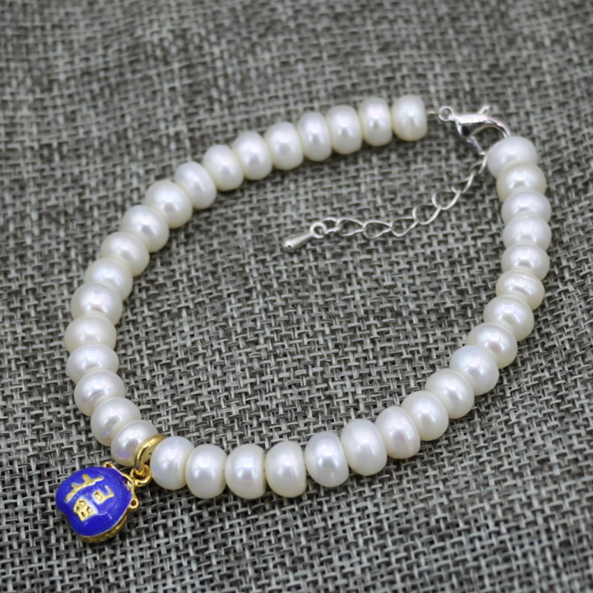 8mm Real White Cultured Freshwater Pearl Black Agate Carnelia Beads Bracelets