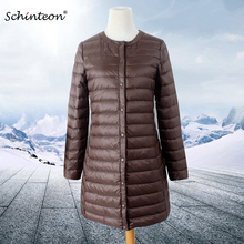 Schinteon, женский пуховик, ультра-светильник, белый утиный пух, длинное пальто, тонкая внутренняя нижняя одежда, тонкая, осенняя, Новое поступление