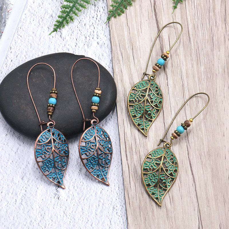 Women Bronze Hollow Leaf Leaves Drop Earrings Vintage Bohemia Beads Dangle For Girl Fashion Beach Hoilday Jewelry