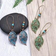 Women Bronze Hollow Leaf Leaves Drop Earrings Vintage Bohemia Beads Dangle For Girl Fashion Beach Hoilday Jewelry