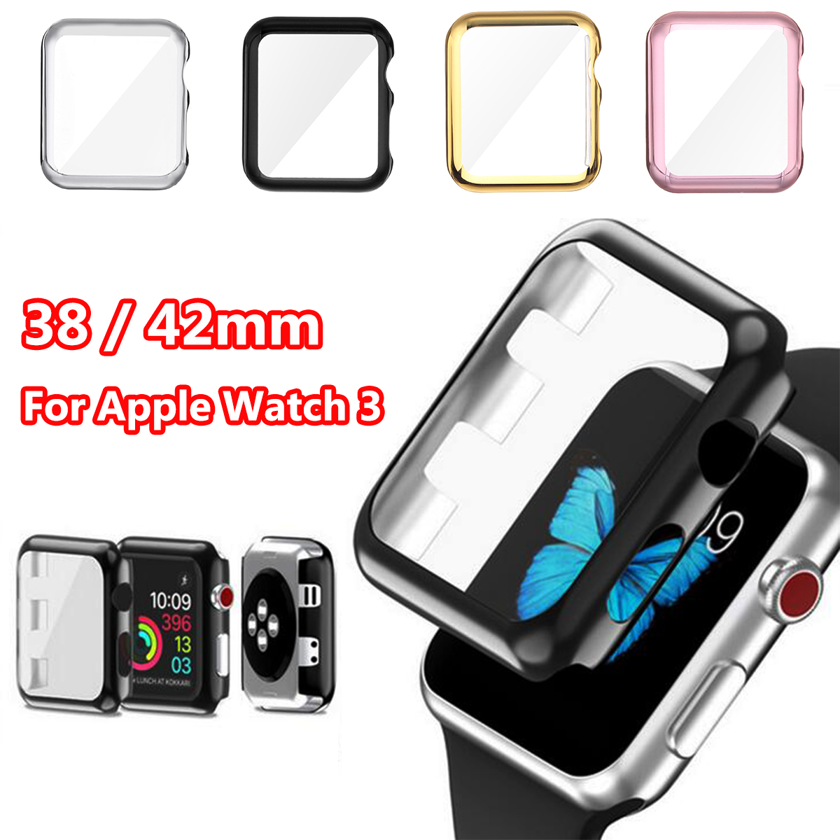 38mm/42mm Full Cover Case Screen Protector Transparent Protected Knocks Watch Cases for Apple watch for iwatch Series 3