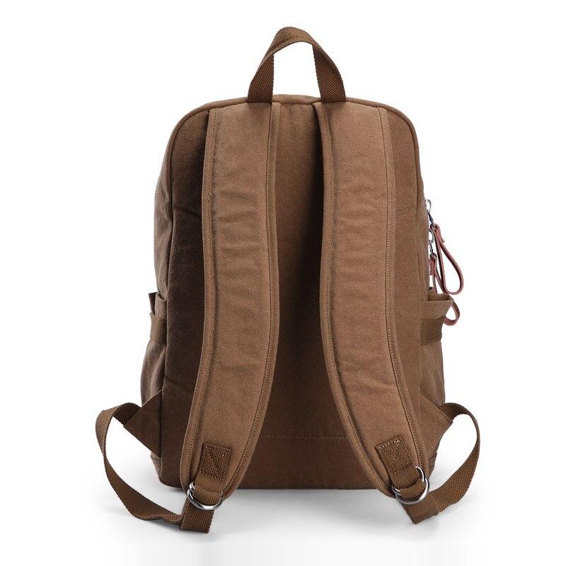 Hommes décontracté Preppy Style plaine sac d'école à la mode Simple toile sac à dos hommes mode solide couleur ordinateur portable voyage sac à dos - 3