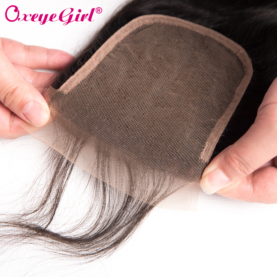 Peruvian Body Wave Lace Closure Med Baby Hair Free / Middle / Three - Menneskehår (sort) - Foto 4