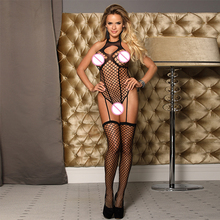 Bodystocking sexy lingerie women bodysuit jumpsuit crotchless sheer fishnet body suit one piece stocking Da3250